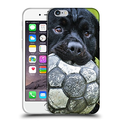 Just Phone Cases Coque de Protection TPU Silicone Case pour // V00004327 chiot noir joue avec le ballon // Apple iPhone 6 6S 6G PLUS 5.5""