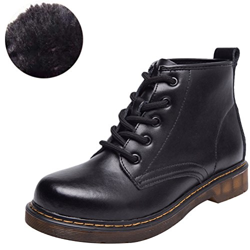 MatchLife Women's Fashion Round Toe Suede Martin Boots Fall Winter Shoes With Lace Closure Style2 Fleece Black