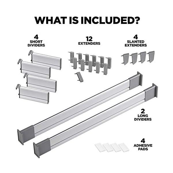 519dk2y4UjL PRACTICAL COMFORT Schubladen-Organizer, Verstellbarer Schubladeneinsatz aus Aluminium für Clutter-Freie Küche…