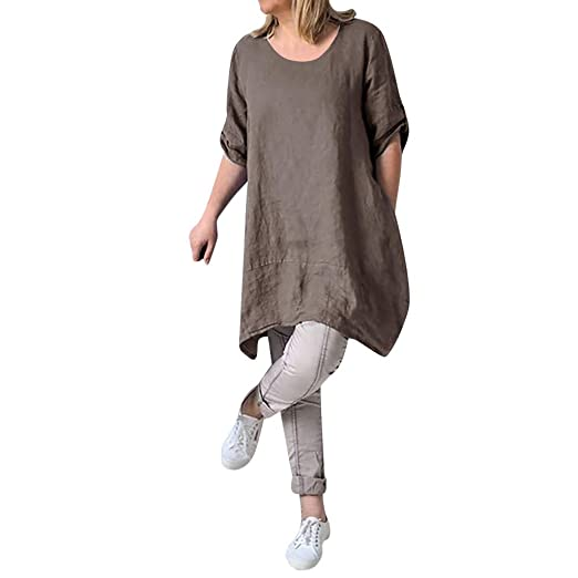 4e6517b4bcbf Amazon.com  Clearance Sale! Womens Cotton Linen Dresses Plus Size S ...