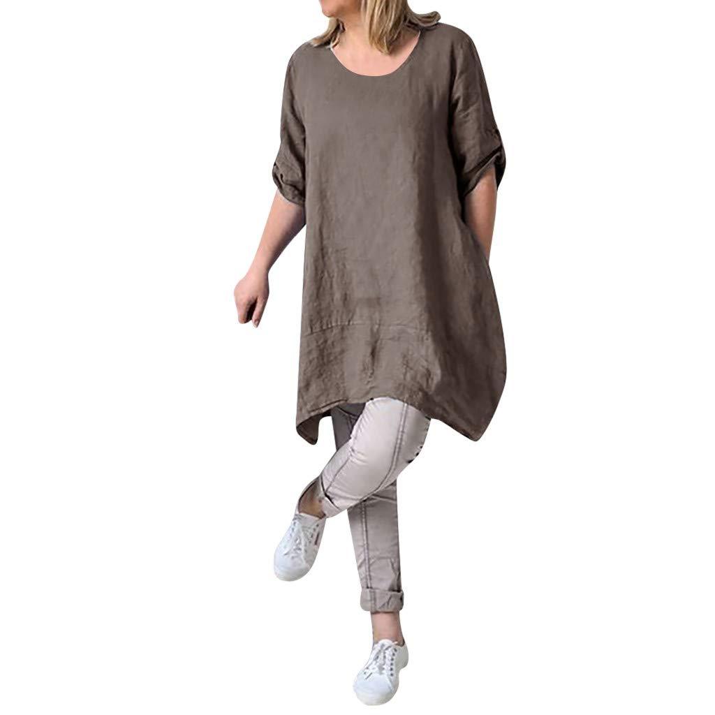 Clearance Sale! Womens Cotton Linen Dresses Plus Size S-5XL, Summer Casual Loose Round Neck Irregular Hem Beach Dresses (Brown, Large)
