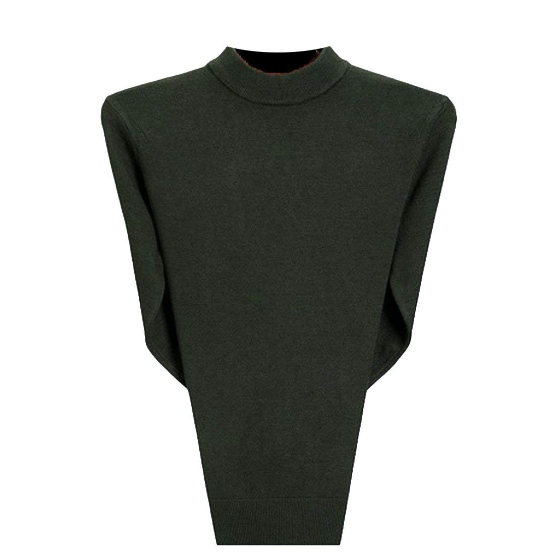 BU2H Men Plus Size Plus Size Autumn Half Turtleneck Solid Slim Wool Knitwear Pullover Sweater