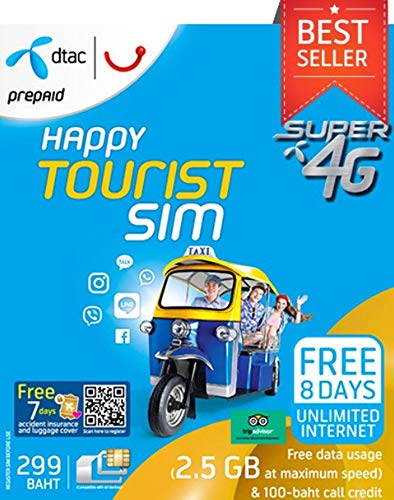 Thailand only Happy Tourist Prepaid SIM card for 3G/4G unlimited date by GAC