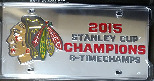 Chicago Blackhawks 2015 Stanley Cup Champions Deluxe Laser Cut Acrylic License Plate Tag 6X Champs NHL Hockey