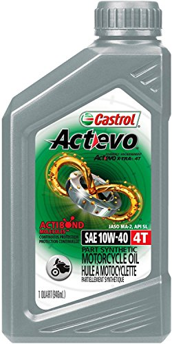Castrol 06130 Actevo 10W-40 Part Synthetic 4T Motorcycle Oil - 1 Quart Bottle, (Pack of 6) (Best 4t Oil For Motorcycle)