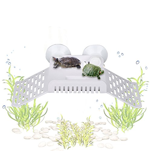 Multifunctional Amphibian Basking Floating Platform with Feed Bowl Cup for Turtle Reptile Lizard Tortoise Horned Frogs