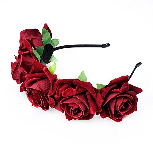 DreamLily Rose Flower Crown Wedding Festival Headband Hair Garland Wedding Headpiece BC16(Burgundy) -