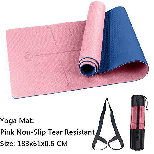 WJWORLD Yoga Mat, Fitness Mat TPE Eco Friendly Non Slip Tear Resistant Exercise Carpet With Carrying Strap-Workout…