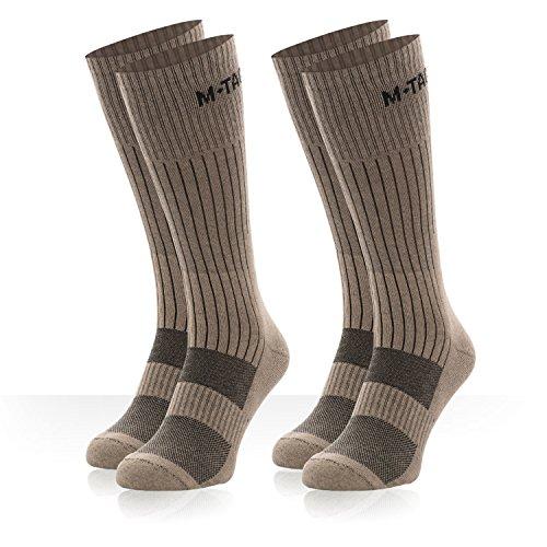 w socks - military boot socks - outdoor socks - 2 pair pack (Khaki 2 Pairs, Medium) ()