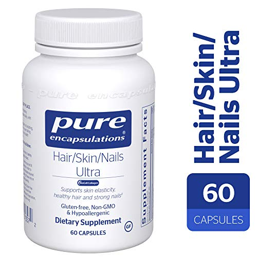 Pure Encapsulations - Hair/Skin/Nails Ultra - Hypoallergenic Supplement Supports Skin Elasticity, Hydration, Hair, and Nails* - 60 Capsules