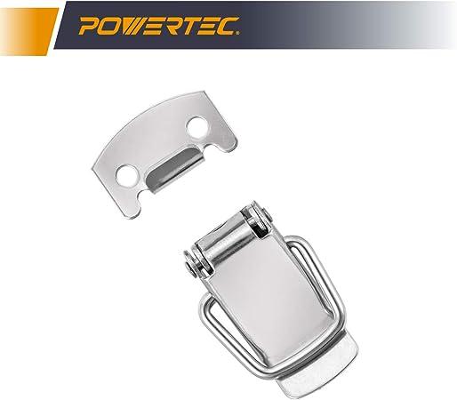 1 4 unidades Pestillo de acero inoxidable con resorte para pecho con placa de cierre PowERTEC 21109 3//4 pulgadas