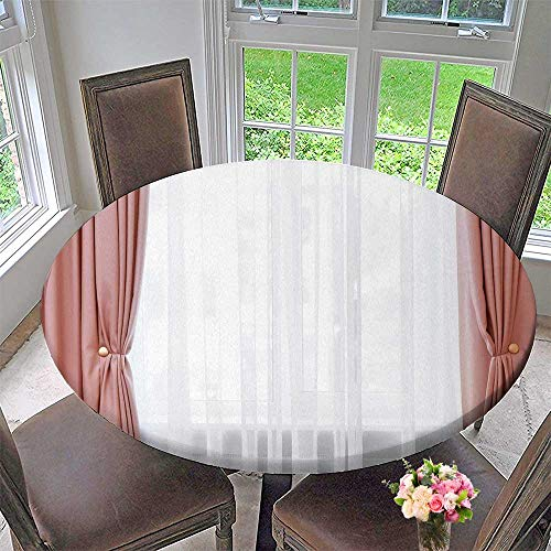 Chateau Easy-Care Cloth Tablecloth Room Window with White and Grey Curtains for Home, Party, Wedding 55