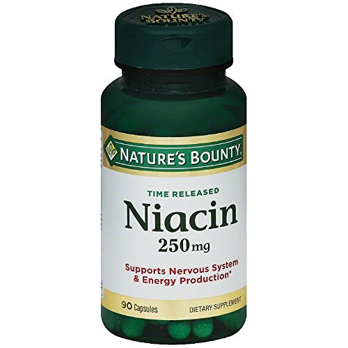 Nature's Bounty Natural Time Release Niacin 250 mg Capsules 90 ea ( Pack of 2)