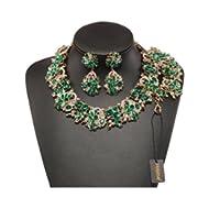 7 Colors Crystal Vintage Statement Necklace Bracelet Earrings