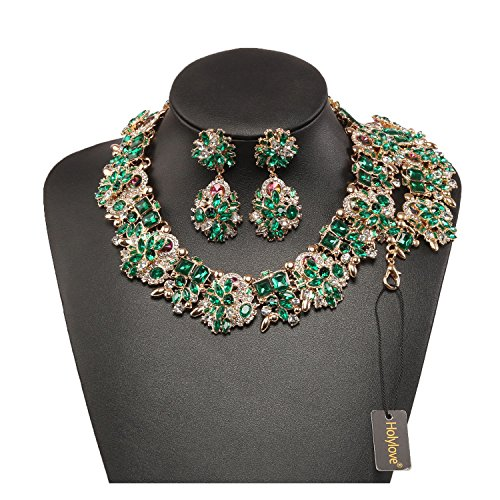 Holylove Green Retro Style Statement Necklace Bracelet Earrings Women Novelty Jewelry Set 1 Gift Box-8041BGreen (Casual Green Necklace)