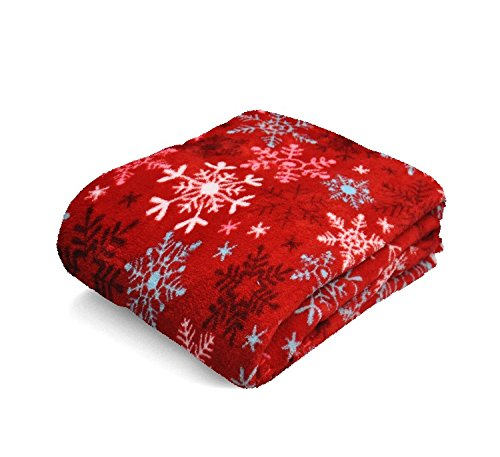 Snowflake Micro-Plush Throw Blanket, 50-inch by 60-inch, Red (Christmas Blankets)