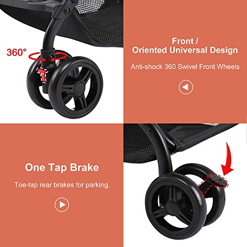 519dm8I6UDL - Lightweight Stroller, Baby Umbrella Strollers Foldable Compact Stroller For Travel, Convenience Stroller With Oversized Canopy/Easy One-Hand Fold/Extra-Large Storage (Gray)