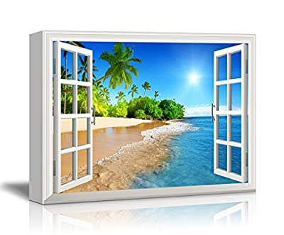 "Wall26 Canvas Print Wall Art - Window Frame Style Wall Decor - Beautiful Tropical Beach with White Sand,Clear Sea and Palm Trees under Blue Sunny Sky - 36"" x 48"""