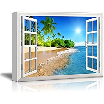 this item wall26 canvas print wall art window frame style wall decor beautiful tropical beach with white sandclear sea and palm trees under blue sunny