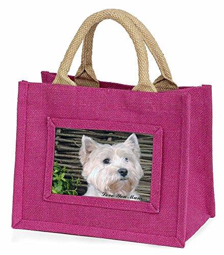 Advanta–Mini Pink Jute Tasche West Highland Terrier Love You Mum Little Mädchen klein Einkaufstasche Weihnachten Geschenk, Jute, pink, 25,5x 21x 2cm