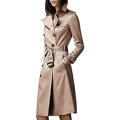 Luckycat Abrigo Trench Mujer Chaqueta Solapa Manga Larga Doble Botones Coat Jacket