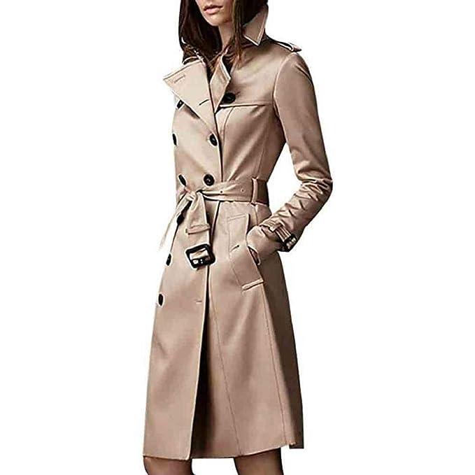 Luckycat Abrigo Trench Mujer Chaqueta Solapa Manga Larga Doble Botones Coat Jacket (Caqui, Pequeña