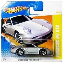 2010 Hot Wheels (Silver) PORSCHE 911 GT2 #15/214, HW Premiere #15/52 (Short Card)