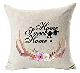 img - for Nordic Simple Hand-painted Bucks Antlers Colorful Flowers Garlands Home Sweet Home Cotton Linen Throw Pillow Case Cushion Cover NEW Home Office Bay Window Decorative Square 18 X 18 Inches book / textbook / text book