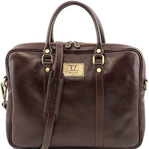Tuscany Leather - Prato - Elegante porta folios y porta ordenador portátil en piel Marrón oscuro - TL141283/5 Marrón Oscuro