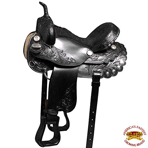 HILASON 16 FLEX-TREE BARREL RACING TRAIL WESTERN LEATHER HORSE SADDLE