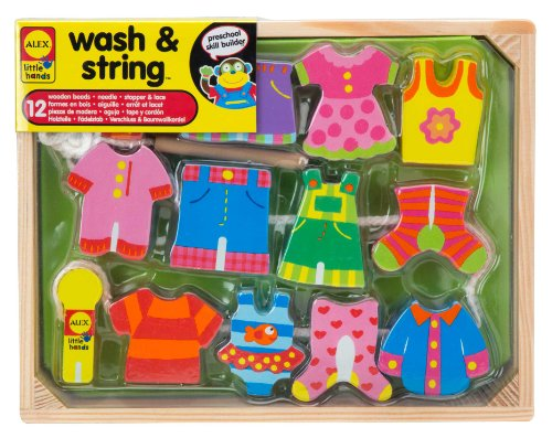[ALEX Toys Little Hands Wash & String] (Chunky Wooden Beads)