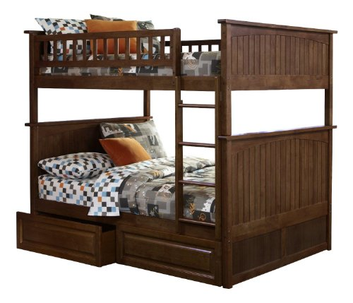 Nantucket Bunk Bed with 2 Raised Panel Bed Drawers, Full Over Full, Antique Walnut