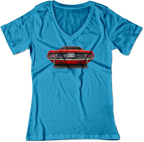 (BSW Women's Nice Ass 1970 Plymouth Barracuda Muscle Car V-Neck 2XL Sapphire )