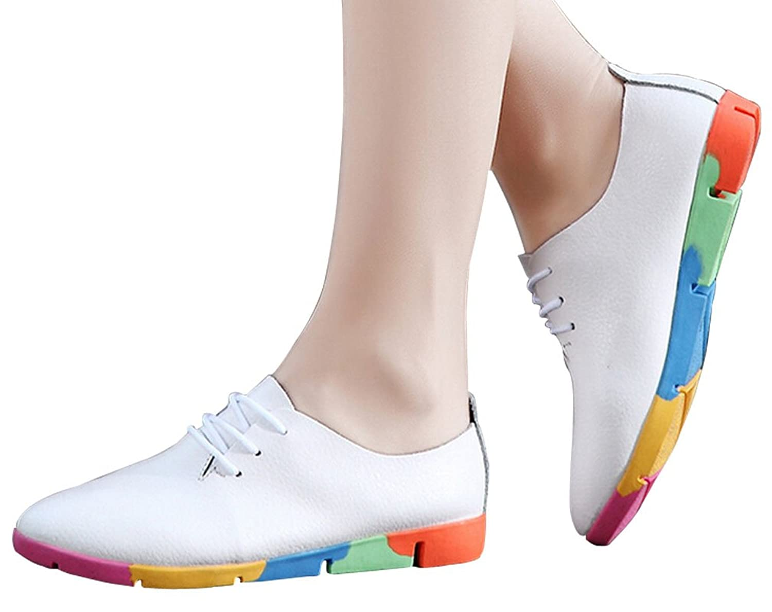 FAYALE Women's Rainbow color Fashion Non-slip Flat Shoes