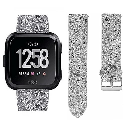 Fitbit Versa Bands, Nightclub Shiny Glitter Bling Luxury Faux Leather Wristband Bracelet Belt Replacement Band Strap Accessories Sparkly Strap Bracelet for Fitbit Versa Smartwatch Women Men (Silver)