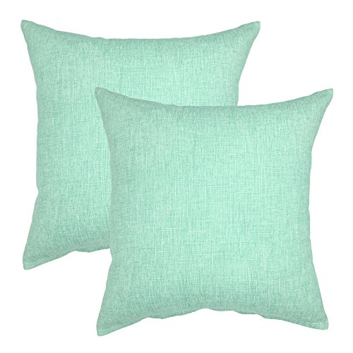 YOUR SMILE Solid Color Cotton Linen Decorative Throw Pillow Case Cushion Cover Pillowcase for Couch Sofa Bed,18 X 18 Inches (Teal,Set of 2)