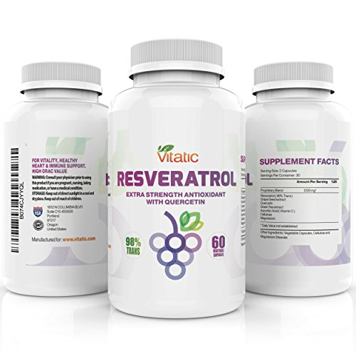 Resveratrol Supplements by Vitatic | 98% Trans Vegetarian Antioxidants, Natural Ingredients, Optimum Nutrition | Increase Your Health Naturally with Two Capsules a Day | 60 Capsules 1200mg per serving by Vitatic