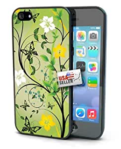 Green Floral Flowers Black Plastic Cover Case for iphone 5 5s or 5s