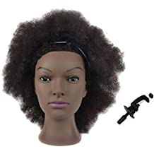 Mannequin Head African American with 100% Human Hair Cosmetology Afro Hair Manikin Head for Practice Styling Braiding with Clamp