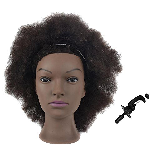 Mannequin Head African American with 100% Human Hair Cosmetology Afro Hair Manikin Head for Practice Styling Braiding with Free Clamp