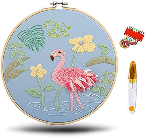 1 Pack Embroidery Kit for Beginners Cross Stitch Kits for Adults 1 Pcs Embroidery Pattern ClothFlamingos 1 Pcs Plastic Embroidery Hoops Color Threads and Tools Kit (Style3)