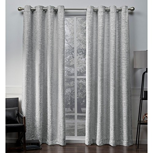 Exclusive Home Curtains Criss Cross Chenille Eyelash Room Darkening Grommet Top Window Curtain Panel Pair, Cloud Grey, 54x108
