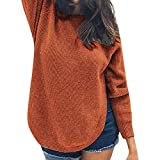 YANG-YI Womens Tops Clearance Winter Blouse Long Sleeve Round Collar Split Solid Color Sweater