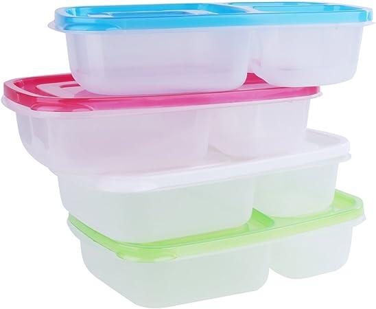 4 Pack comida Prep recipientes 3 compartimento congelador de horno ...