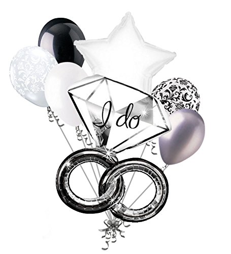 7pc I Do Wedding Ring Diamond Balloon Bouquet Party Decoration Bridal Engagement ()