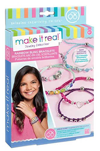 (Make It Real - Rainbow Bling Bracelets. DIY Bead & Knot Bracelet Making Kit for Girls. Arts and Crafts Kit to Design and Create Unique Tween Knot Bracelets with Wax Cord, Beads, Charms & Gem Links)