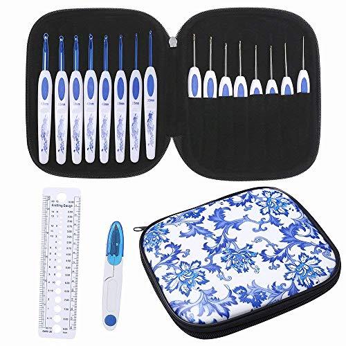 lfbest 16pcs ganchos de Crochet ergonómico, mango antideslizante, agujas de tejer, Kits de ganchillo con azul y blanco...