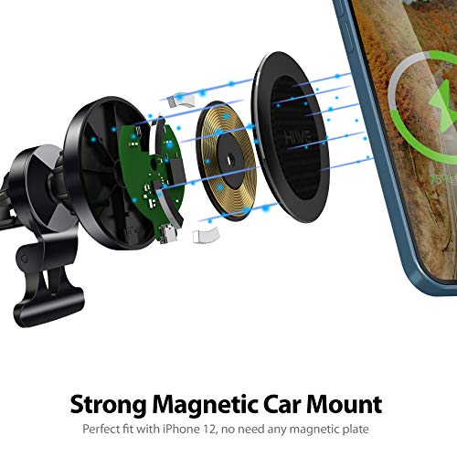 Wireless Car Charger : Magnetic Phone Car Mount for iPhone 12-15W Fast Charging Car Phone Holder Mount Compatible with iPhone 12/12 Mini/12 Pro/12 Pro Max,iPhone Wireless Car Charger (Dark Black)