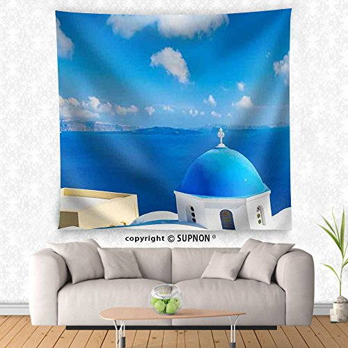 VROSELV custom tapestry Santorini Island Greece Beautiful View of Blue Ocean and Traditional Dome Church Architecture - Fabric Wall Tapestry Home (Cowboy Dome Lunch Box)