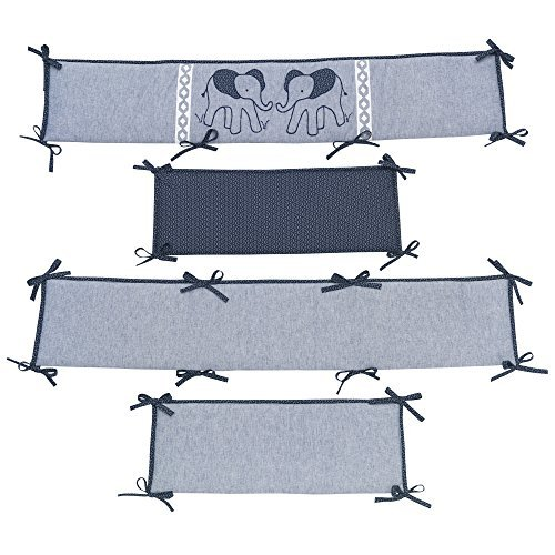 Lambs &Ivy Indigo Elephant 4 Piece Crib Bumper, Blue/White [並行輸入品]   B0785W3DL7